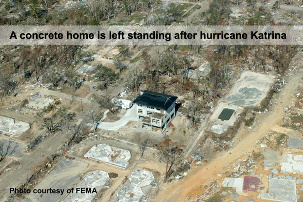 A concrete home is left standing after hurricane Katrina