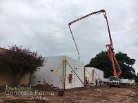 "Pouring concrete for 8"" walls on Jackson Elementary School Safe Room in Norman OK with Fox Blocks ICF"