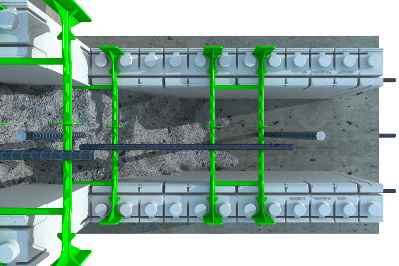 Quad-Lock Insulating Concrete Forms ICF QPX3 top view with concrete Graphic
