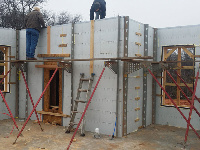 Quad-Lock 2800sqft ICF Home in OKC with lots of Windows - getting ready for concrete