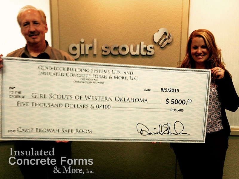 Quad-Lock & ICF & More contribute to the ICF Tornado Safe Room for the Girl Scouts of Western Oklahoma at Camp Ekowah OK
