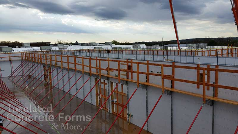Bracing & Scaffolding on 14' tall walls for Ada High School ICF Safe Room - ICF & More OKC