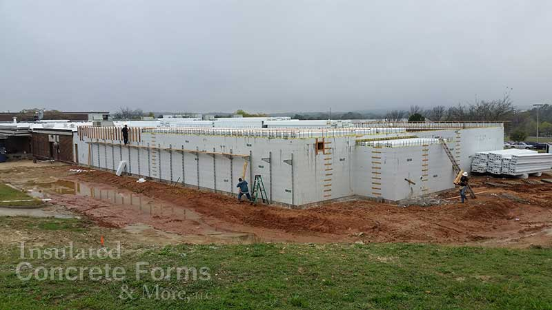 ICF Multi-purpose Safe Room ready for concrete pour on roof - ICF & More OKC