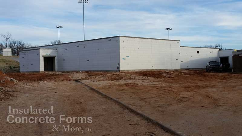 Ada High School Multi-purpose ICF Safe Room ready for exterior finishes in Ada, OK - ICF & More OKC