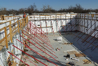 Ready to pour concrete in ICF Walls for Windsor Elementary School Tornado Safe Room in Bethany OK with Fox Blocks ICF